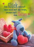 GOLDBEK Glück erkannt man mit dem  Herzen / blauer Hund Lichtblicke Postkarte