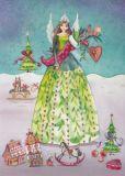 TAURUS-KUNSTKARTEN Frau mit Geschenken / Weihnachten - Kristiana Heinemann Postkarte