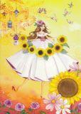 TAURUS-KUNSTKARTEN Frau mit Sonnenblumen - Kristiana Heinemann Postkarte