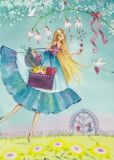 TAURUS-KUNSTKARTEN Frau mit Geschenken + Herzen - Kristiana Heinemann Postkarte