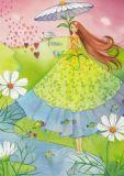 TAURUS-KUNSTKARTEN Frau mit Blumenschirm + Herzen - Kristiana Heinemann Postkarte