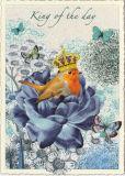 TAUSENDSCHÖN King of the Day / Rotkehlchen auf blauer Blume Postkarte