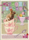 TAUSENDSCHÖN Frohe Ostern - Hase in Tassen Postkarte