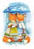 LOVELYCARDS Lizzy mit Regenschirm / Fuchs - Evgenia Chistotina Postkarte