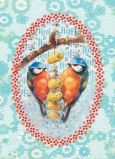 FROY & DIND Blaue Vögel mit Nüssen Postkarte