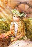 LOVELYCARDS Mädchen mit Kamille + Katze - Evgenia Chistotina Postkarte