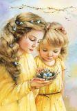 LOVELYCARDS Mädchen mit Nest - Evgenia Chistotina Postkarte