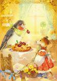 LOVELYCARDS Pflaumenkuchen / Maus + Vogel - Elina Moiseenko Postkarte