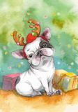 LOVELYCARDS Bulldogge an Weihnachten - Inga Paltser Postkarte