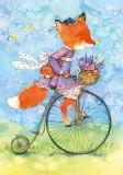 LOVELYCARDS Lizzy auf Fahrrad / Fuchs - Evgenia Chistotina Postkarte