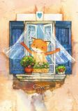 LOVELYCARDS Lizzy am Fenster / Fuchs - Evgenia Chistotina Postkarte