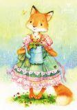 LOVELYCARDS Lizzy mit Gießkanne / Fuchs - Evgenia Chistotina Postkarte