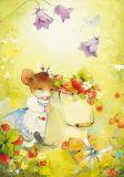 LOVELYCARDS Maus auf Erdbeerwiese - Catherine Babok Postkarte
