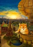 LOVELYCARDS Katze im Heißluftballon - Alexander Maskaev Postkarte