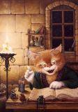 LOVELYCARDS Katze liest im Buch - Alexander Maskaev Postkarte