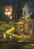LOVELYCARDS Leben der Zwerge / Katze hinter Büschen - Alexander Maskaev Postkarte