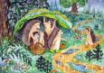 LOVELYCARDS Igel im Sommerregen - Elizaveta Melkovevova Postkarte