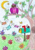 DANACARDS Nachtpost / Eule auf Baum + Briefkasten - Beate Reinartz Postkarte