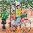 GOLLONG Frau mit Fahrrad an Gartentor - Cartita Design Postkarte