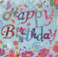 GOLLONG Happy Birthday / Schrift auf blau - Cartita Design Postkarte
