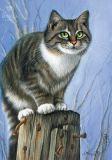 LOVELYCARDS Katze auf Pfosten - Irina Garmashova Postkarte