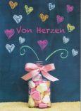 GOLDBEK Von Herzen / Glas mit Bonbons + gemalte Herzen Fairmail Postkarte