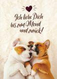 GOLDBEK Ich liebe Dich bis zum Mond und zurück! / zwei Hunde Lichtblicke Postkarte