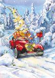 LOVELYCARDS Lizzie mit Auto an Weihnachten / Fuchs - Evgenia Chistotina Postkarte