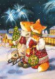 LOVELYCARDS Lizzie mit Feuerwerk / Fuchs - Evgenia Chistotina Postkarte