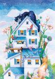 LOVELYCARDS Traumhaus mit Katzen - Jyldyz Bekova Postkarte