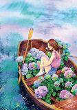LOVELYCARDS Mädchen mit Boot - Jyldyz Bekova Postkarte