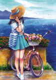 LOVELYCARDS Mädchen mit Fahrrad - Jyldyz Bekova Postkarte