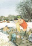TAURUS-KUNSTKARTEN Frauen baden in Eisloch - Inge Löök Postkarte