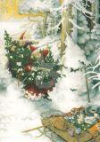 TAURUS-KUNSTKARTEN Frauen mit Weihnachtsbaum - Inge Löök Postkarte