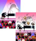 CARTES DART Piano Cats Wackel Postkarte