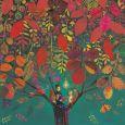 GOLLONG Frau liest im Herbstbaum - Mila Marquis Postkarte