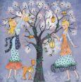 GOLLONG Frau mit Laternen am Baum - Cartita Design Postkarte