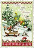 TAUSENDSCHÖN Merry Christmas / Katze auf Kutsche mit Hund Postkarte