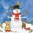 GOLLONG Schneemann mit Katze, Hund + Vögeln - Carola Pabst Postkarte