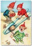 ARTELIUS Nüsse knacken - Zwerg Postkarte