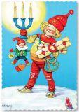 ARTELIUS Zwergin mit Kerzen + Geschenken - Zwerg Postkarte