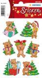Herma Weihnachtsteddys mit Bäumen Sticker