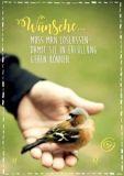 KATJA DIECKMANN Wünsche muss man loslassen / Vogel - Zauberwerke Postkarte