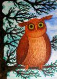 DANACARDS Eule auf Baum - Owls Art Suri Postkarte