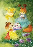 LOVELYCARDS Eichhörnchen auf Baum mit Tannenzapfen - Catherine Babok Postkarte