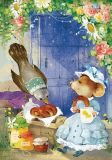 LOVELYCARDS mouse and bird with bagels - Catherine Babok postcard