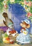 LOVELYCARDS Maus und Vogel mit Bagels - Catherine Babok Postkarte