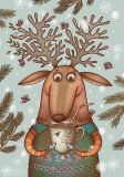 LOVELYCARDS reindeer with cacao - Lisa Suhno postcard