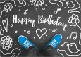 HARTUNG EDITION Happy Birthday / blaue Schuhe Kontraste Postkarte