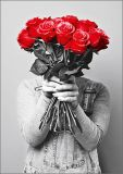 HARTUNG EDITION man with roses bouquet KONTRASTE postcard